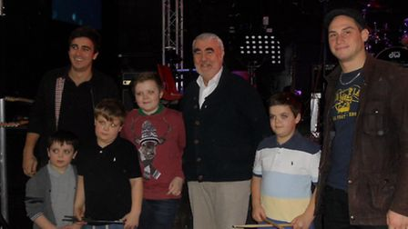 (children left to right) Ryan, Liam, Jack and Harry Francis with Kerry Pollard and (L) Chris Batten