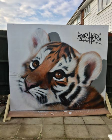 David Nash's tiger cub painting attracted lots of attention on Facebook.