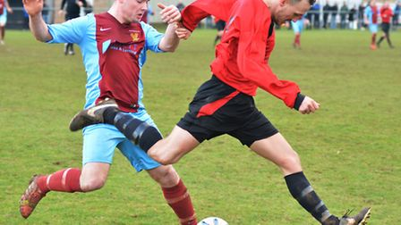 Action from the Hunts Junior Cup semi-final between Eaton Socon Reserves and Brampton Reserves.