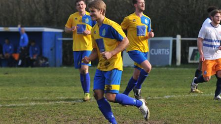 Harry Hunt, seen scoring against Hillingdon Borough last season, is one away from notching his 100th
