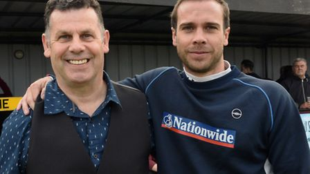 Nev Nania (left) with coach Matty Haniver on the day they led Godmanchester Rovers to Hunts Senior C