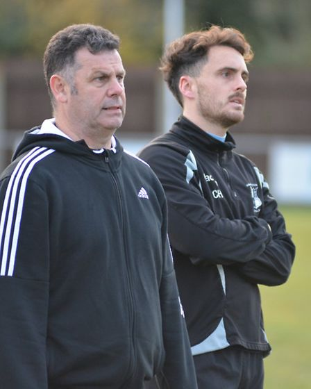 Nev Nania (left) during his time assisting current Godmanchester Rovers boss Chris Hyem this season.