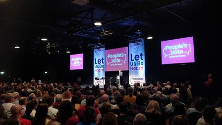 Anna Soubry speaks at the People's Vote North rally. Photograph: People's Vote.