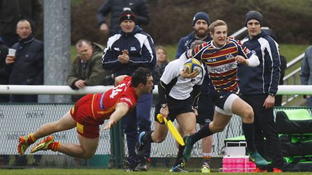 Max Malins, seen in action for Old Albanian earlier this season, will make his Saracens debut agains