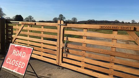 The new wooden gates at Heartwood Forest.