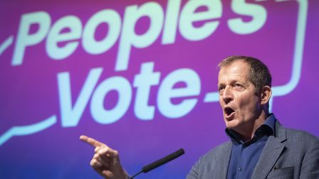 Alastair Campbell addresses a People's Vote rally at New Dock Hall in Leeds. Photograph: Danny Lawso