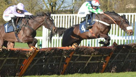 Ma Du Fou (right) on the way to victory in last year's Sidney Banks Memorial Novices' Hurdle at Hunt