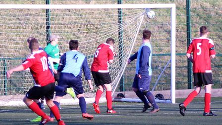Josh Turner (10) scores for AFC Barley Mow in their win against Wimblington. Picture: MARTIN WRAY