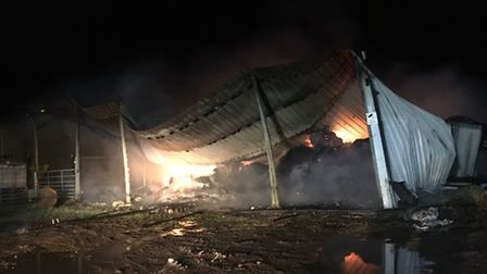 More than 30 firefighters tackled the barn blaze in Ramsey. Picture: Cambridgeshire Fire and Rescue