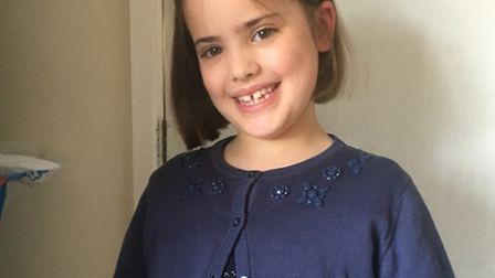 Izzy Knobel-Forbes after her haircut for the Little Princess Trust. Picture: Pippa Knobel-Forbes