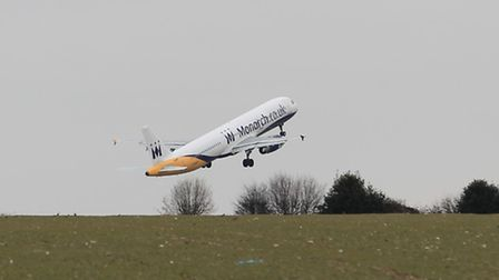 A plane takes off from London Luton Airport