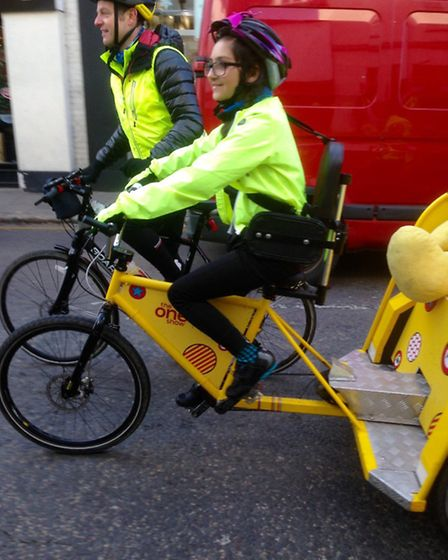 Ebony Robinson, 18, taking part in the 2016 Children in Need rickshaw challenge on behalf of the A-T