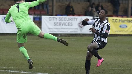 Dubi Ogbonna put St Ives Town ahead at Biggleswade before they were beaten 3-1. Picture: LOUISE THOM