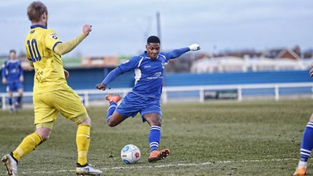Shaun Lucien prepares to strike the ball into the back of the net. Picture: LEIGH PAGE