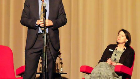 Left to right: Vince Cable with Jenny Brown, headmistress at St Albans High School for Girls