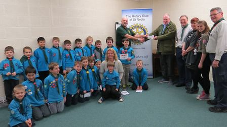StNeots beaver pack with leader Kim Ludlow, chairman John Routledge, Geoff Stephens from St Neots Ro