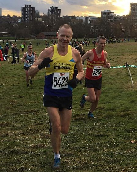 St Albans Striders' Sebastian Rowe at the Southern Cross Country Championships at Parliament Hill