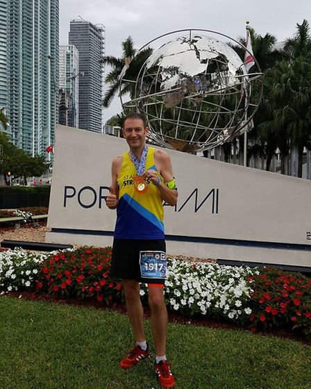St Albans Striders' Ian Hirth just missed out on a PB at the Miami Marathon