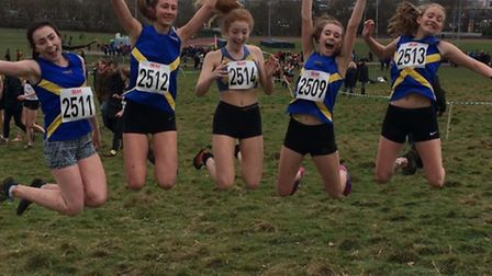 St Albans Athletics Club having fun at the South of England Cross Country Championships at Parliamen