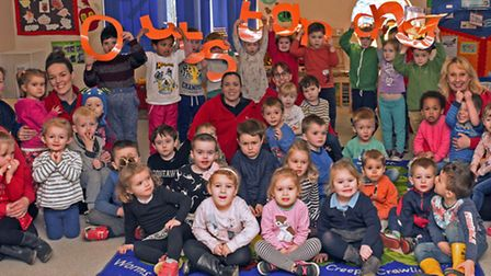 The Roundhouse pre-school celebrate their outstanding report.