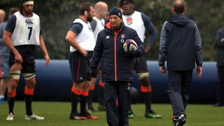 England coach Eddie Jones during a training session at Pennyhill Park, Bagshot. PRESS ASSOCIATION Ph