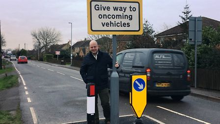 Councillor Peter Reeve welcomes the new traffic calming measures in Oilmills Road, Ramsey