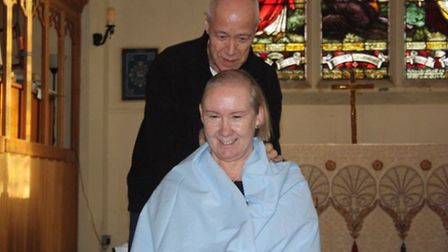 Phil Huntley took hold of the clippers for Pauline's head shave.