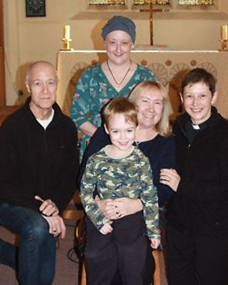 Pauline Cockerill, centre, with daughter Emma and grandson Luke, and Phil and Rev Heidi Huntley.