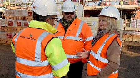 Anne Main MP with Ali Maruf, left, at the London Road site