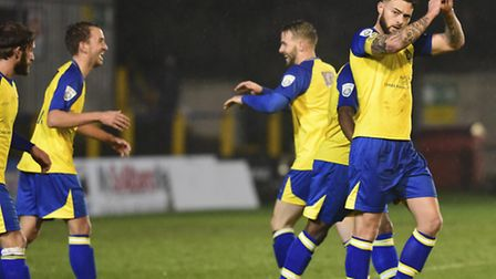 Saints celebrate the first goal. Picture: BOB WALKLEY