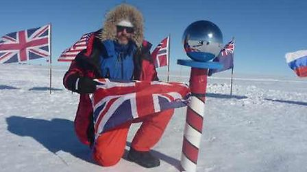 Rob Smith reaching the South Pole on day 34 of his journey.