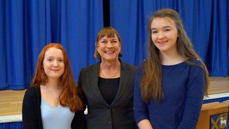 Former No. 10 Director of Government Relations Anji Hunter pictured with two St Albans Girls School