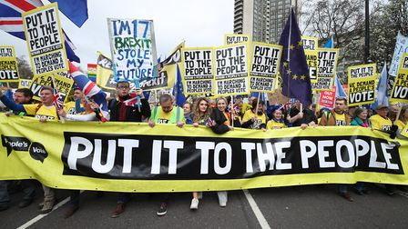 Anti-Brexit campaigners take part in the People's Vote March in London. (Yui Mok/PA)