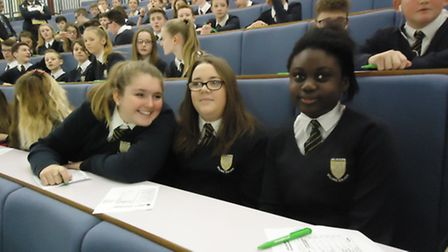 Melbourn VC students at the ARU lecture theatre.