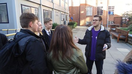 Melbourn VC students being shown around campus.