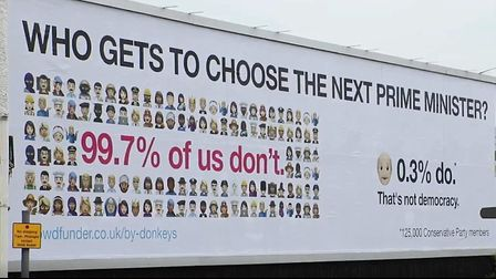 The new Led By Donkeys billboard campaign. Photograph: Twitter.