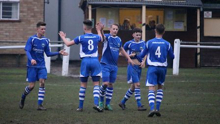 London Colney celebrate Jon Clements (middle) opening goal