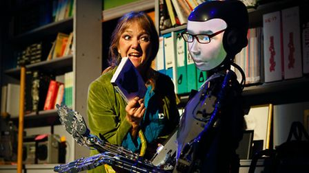 Judy Norman as Sally with the robot in Spillikin