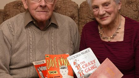 Cliff and Sheila Downing, from St Ives, with some of the show programmes they collected on their hon