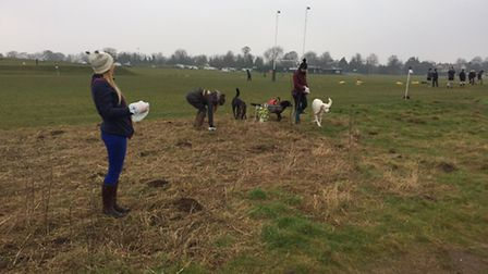 The patrollers helping clean up the heath. Picture: Sally Marchant