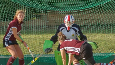 Goalkeeper Ness Brown starred for St Ives Ladies 1sts. Picture: BARRY GIDDINGS