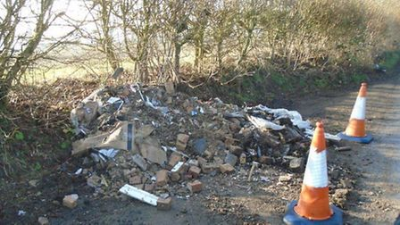 Fly-tipping on Punch Bowl Lane. Photo supplied by St Albans district council.