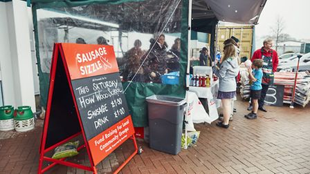 Sausage sizzle stand in favour of How Wood School. Credit: Bunnings.