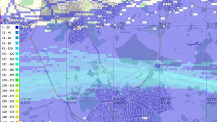 Heat density map over St Albans - July 2013.