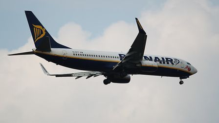 A Ryanair plane at Luton airport
