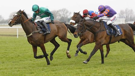 The closing stages of the Sidney Banks Memorial Novices' Hurdle at Huntingdon Racecourse with eventu