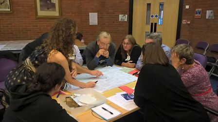 Picture of a break-out group from the charrette organised by Look! St Albans