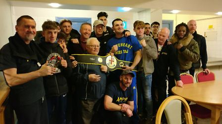 St Albans Boxing Club fighters and trainers at the Finchley show