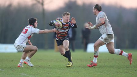 Ben Palmer in action for the Old Albanians