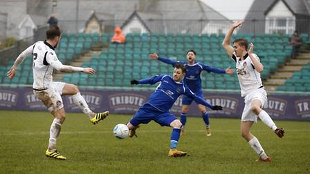 Jamie Cureton fires the ball into the back of the net, but is ruled as offside